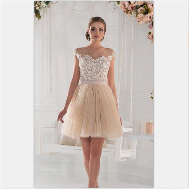 Personalizados champagne mini a line vestidos de coctel de tulle mujeres dress a