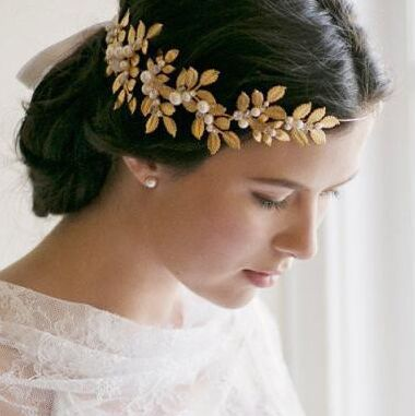 100 handmade cluster metal leaves pearl headbands with ribbon for wedding bridal hair