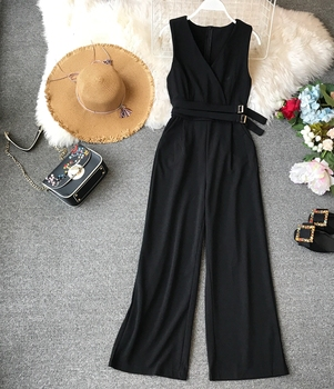 ALPHALMODA 2019 Spring Ladies Sleeveless Solid Jumpsuits V-neck High Waist Sashes Women Casual Wide Leg Rompers 1