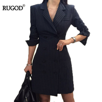 RUGOD 2018 New Office Lady Long Sleeve Profession Women Dress Empire Straight Striped Double Button Turn down Collar Mini Dress