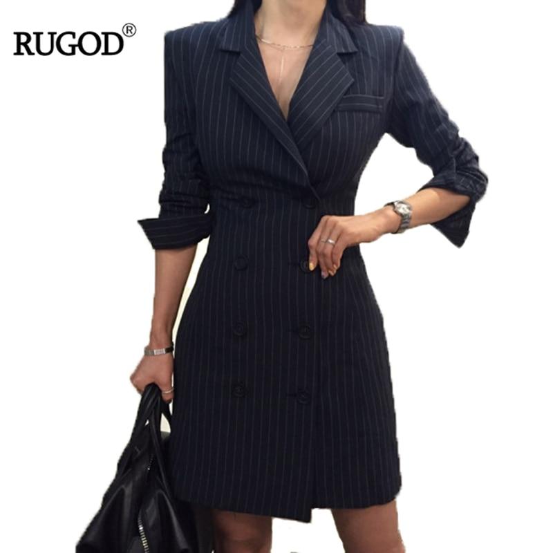 RUGOD 2018 Nouveau Bureau Lady Manches Longues Profession Femmes Robe Empire Droite Rayé Double Bouton Turn-down Collar Mini robe