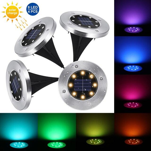 4 sztuk RGB słonecznego lampa gruntowa wodoodporna ogród ścieżka światła pokładowe z 8 diody led Solar lampy dla domu stoczni podjazd trawnik drogowego