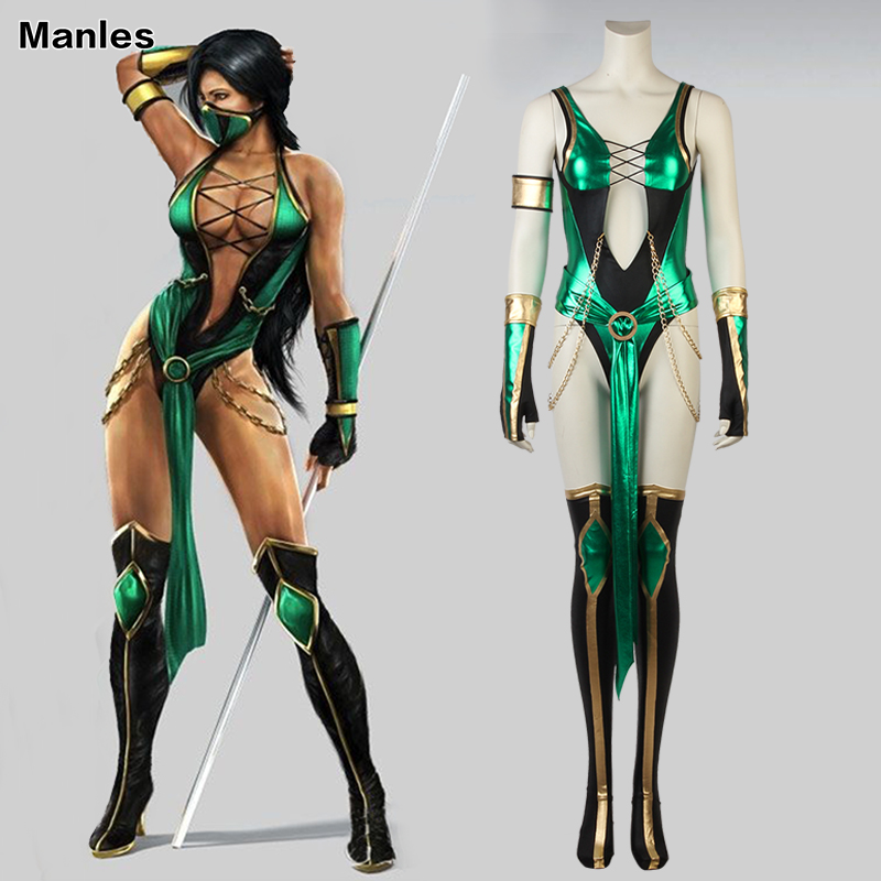 Suit Costume Mask Clothing Game Mortal Jade Superhero Christmas Party Kitana Adult Kombat-X-Cosplay title=
