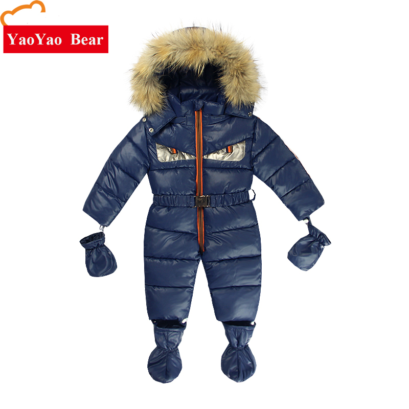 Baby Footies Fur Gloves Ski Suit Newborn 3-12m Infant Outwear Warm Clothes -10 to -30 Degree Suit for Russia Winter Girls Boys цена 2017