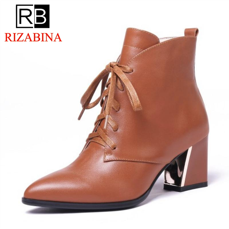 RizaBina Women Ankle Boots Real Leather Shoes Woman Winter High Heels Boots Lace Up Pointed Toe Designer Footwear Size 34-39RizaBina Women Ankle Boots Real Leather Shoes Woman Winter High Heels Boots Lace Up Pointed Toe Designer Footwear Size 34-39