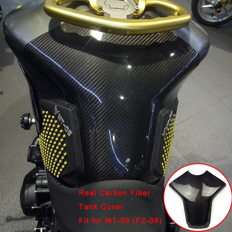 For Yamaha MT-09 FZ-09 MT09 FZ09 2014-2016 Motorcycle Real Carbon Fiber Fuel Gas Trim Fairing Tank Cover 100% Brand New Durable car accessories dry carbon fiber fuel tank cover fit for gt86 ft86 zn6 fr s brz zc6 oil fuel tank covers trim car stying