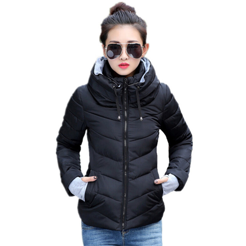 Short Winter Jacket Women Stand Collar Parkas Thicken Outerwear Warm Solid Coats Female Slim Cotton Basic Tops Ladies