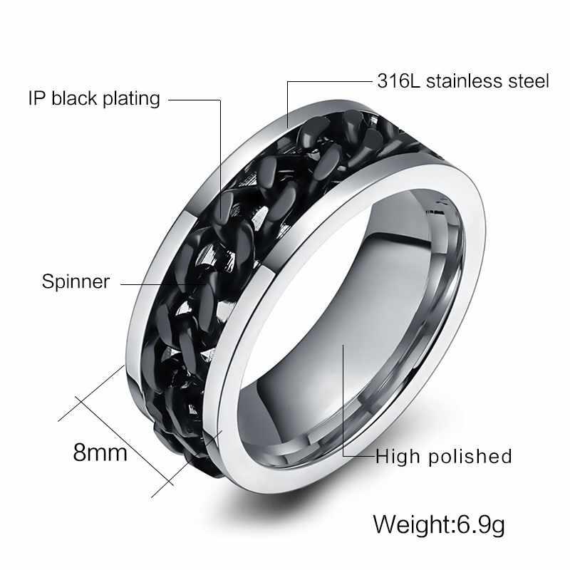 10 ชิ้น/ล็อตผู้ชายแหวน Spinner สแตนเลสสตีลเงินงานแต่งงานสีดำยี่ห้อ Finger US ขนาด 6 ขนาด 15