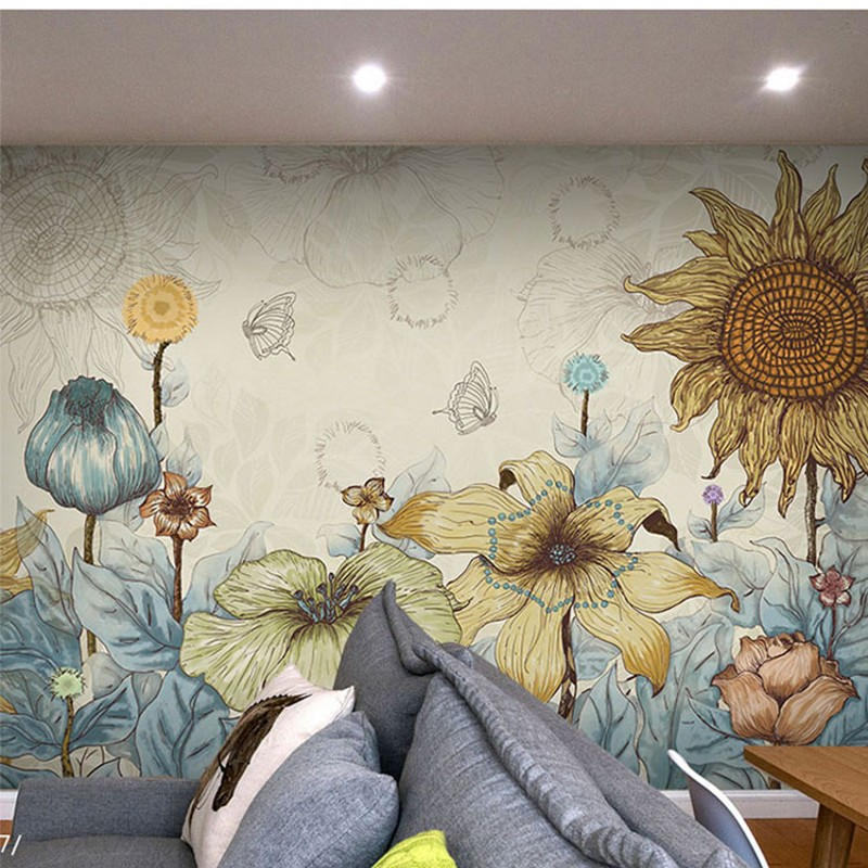 photo wallpaper 3D watercolor flowers mural non-woven the living room sofa TV background lounge wallpaper mural free shipping cartoon pattern wallpaper leisure bar ktv lounge living room sofa children room background comics wallpaper mural