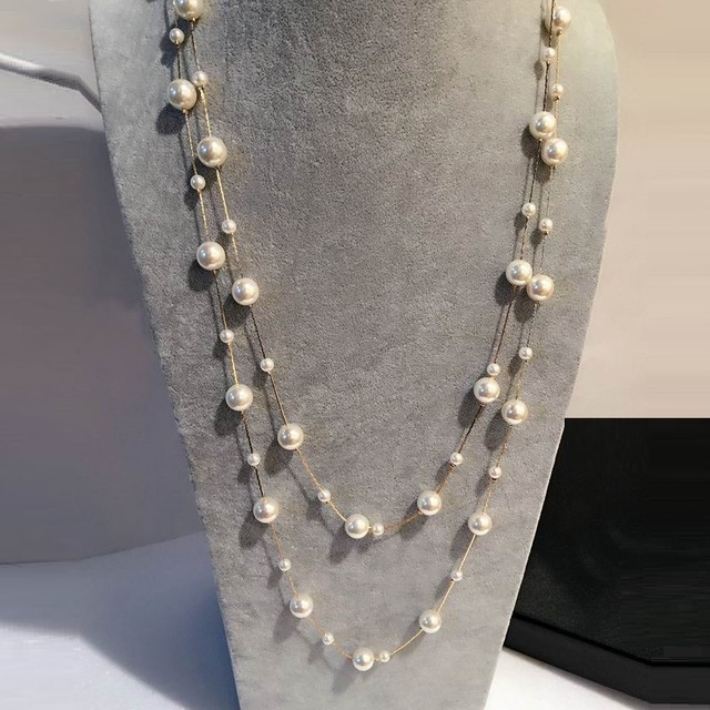 a937f7c7419a Joyería de perlas blancas simuladas collar largo multicapa mujer Bijoux  moda clásica cuentas cadena collares y