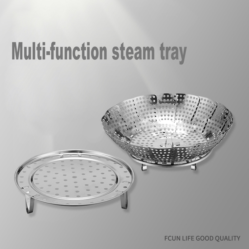 304Stainless Steel Plate Folding Buns Pad Cage Drawer Retractable Fruit Basket Steamed Vegetable Steamer Rack Stainless Steamer
