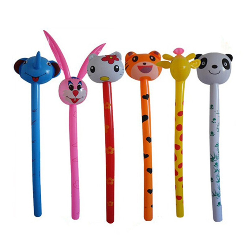 1 Piece 95CM Random Color Cartoon Animal Tiger Rabbit Inflatabel Animal Long Inflatable Hammer Children Toys