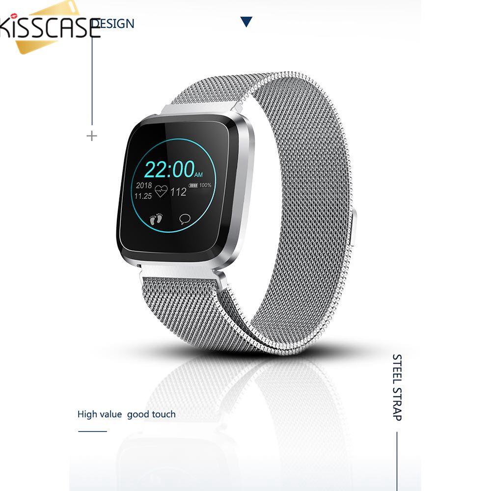 Bracelet intelligent femmes verre fréquence cardiaque pression artérielle sommeil moniteur métal montre intelligente surveillance appel Message rappel chronomètre