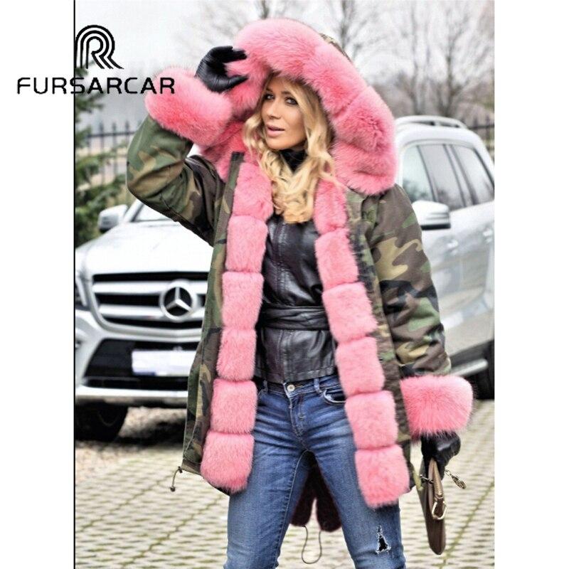 Fursarcar Fourrure Rose Luxe Nouveau Épais Femmes Parka Femelle D'hiver Style Capot Réel De Garniture Avec Manchette Renard Et Mode Manteau wfrxfzIq