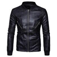 High Quality Creative New Fall Winter Clothing Wholesale Mens Fashion Leather Hem Cuff Spliced Coat Collar
