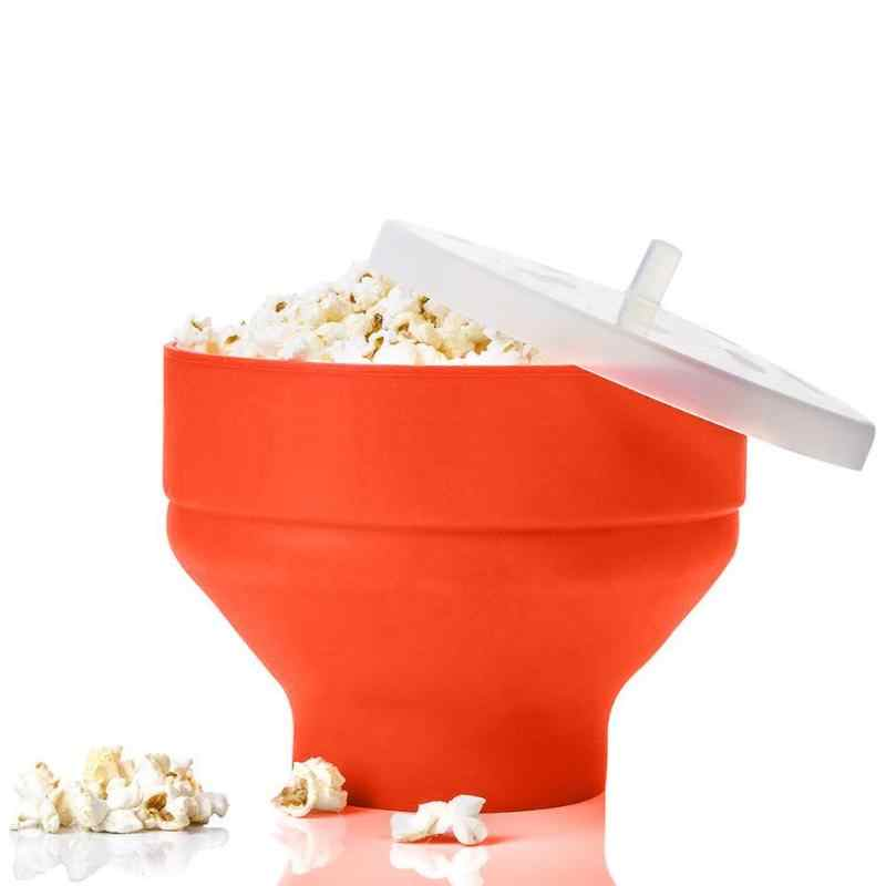 Microwaveable Popcorn Maker Collapsible Silicone Large Corn Bowl with Lid Microwave Safe Kitchen Bakingware for DIY Food Making