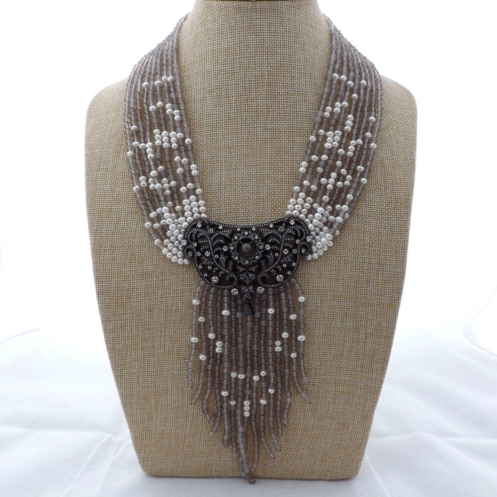 M012603 19 9 Strands Gray Gems Stone White Pearl Necklace CZ PendantM012603 19 9 Strands Gray Gems Stone White Pearl Necklace CZ Pendant