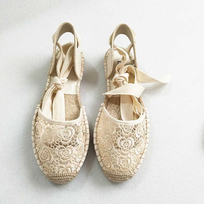 בד קיץ נשים של סנדלי בד סנדלי דירות קרסול רצועת קנבוס תחתון דייג נשים נעלי 2020 אביב/סתיו נשים בטלן