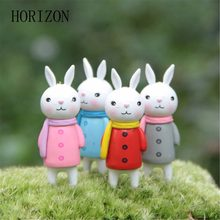 4pcs/lot Sweet Home little Rabbit Figures decorative mini fairy garden Key Chain statue jardin miniature Moss ornaments gifts(China)