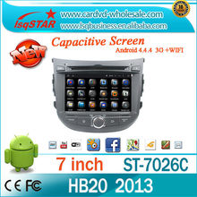 For Multi-Touch Screen Hyundai HB20 2013 Android 4.4.4 4-core Car stereo Radio DVD with Steering Wheel Control IPOD AUX 3G wifi
