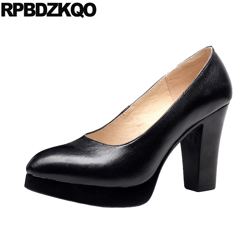 Pumps Size 33 Brand Black 4 34 Platform Shoes Women 3 Inch 11 43 Ladies  2018 10 42 Chunky High Heels Pointed Toe Plus Customized 270bb88f33c2
