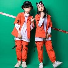 Traje de tres piezas de Hip Hop ropa de niños abrigo naranja Camiseta de  manga larga 5006959ce26