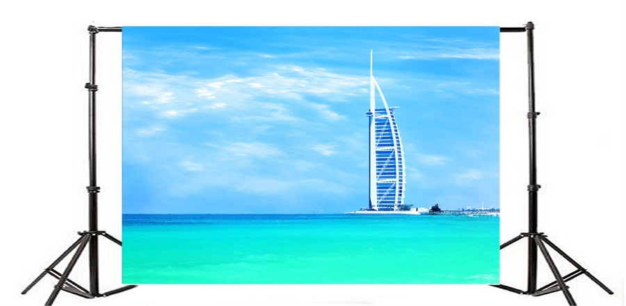 Laeacco Burj Al Arab Hotel Jumeirah Beach Photography Backdrops Vinyl Backdrop Custom Backgrounds For Photo Studio In Background From Consumer
