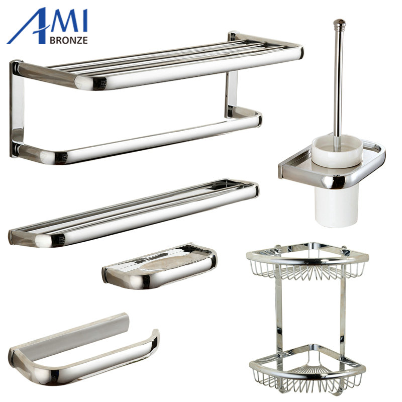 FZ Series Chrome Polished Thicker Bathroom accessories Bath Hardware Set Towel Shelf Towel Bar Paper Holder Cloth Hook 414C 81cp series chrome polished porcelain bathroom accessories bath hardware towel shelf towel bar paper holder cloth hook