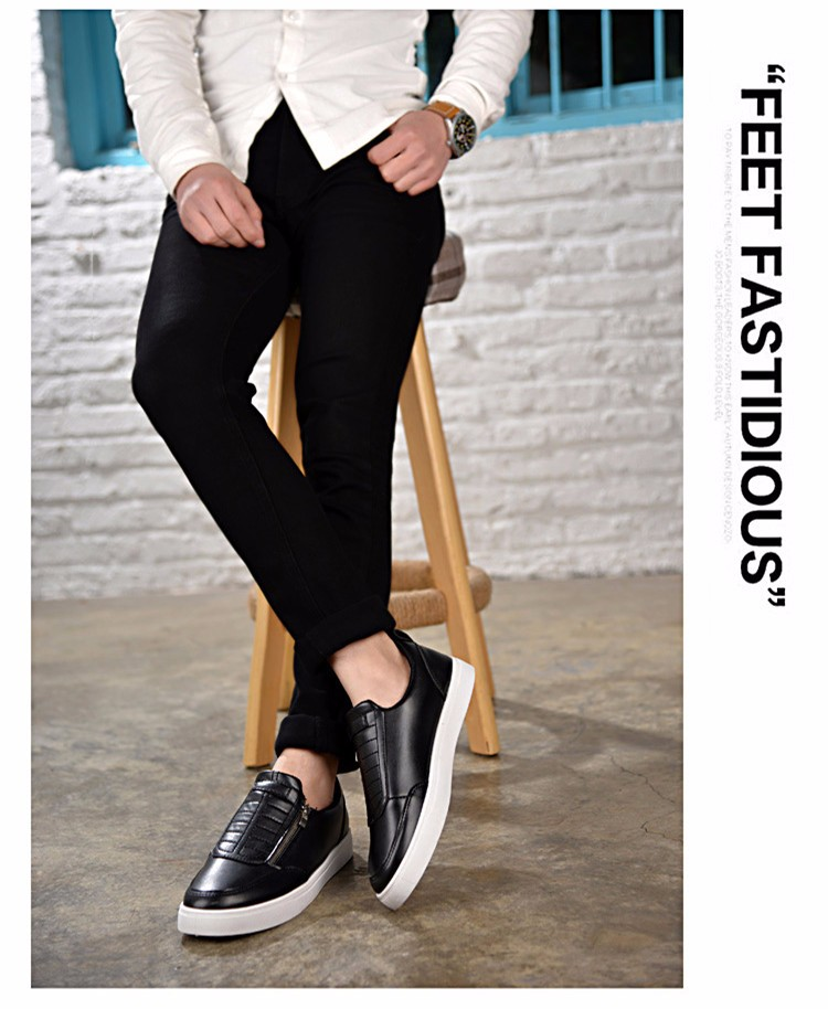 BODNSN Casual Men\'s Skate Shoes Zip Leather Flats 2016 New Solid Round Toe Men\'s Flat Shoes Breathable Fashion Man Shoes PX43 (12)