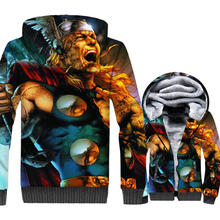 Thor Odinson 3D print hooded jackets thick warm wool liner brand tracksuits Super hero hip-hop coats men 2019 winter sweatshirts