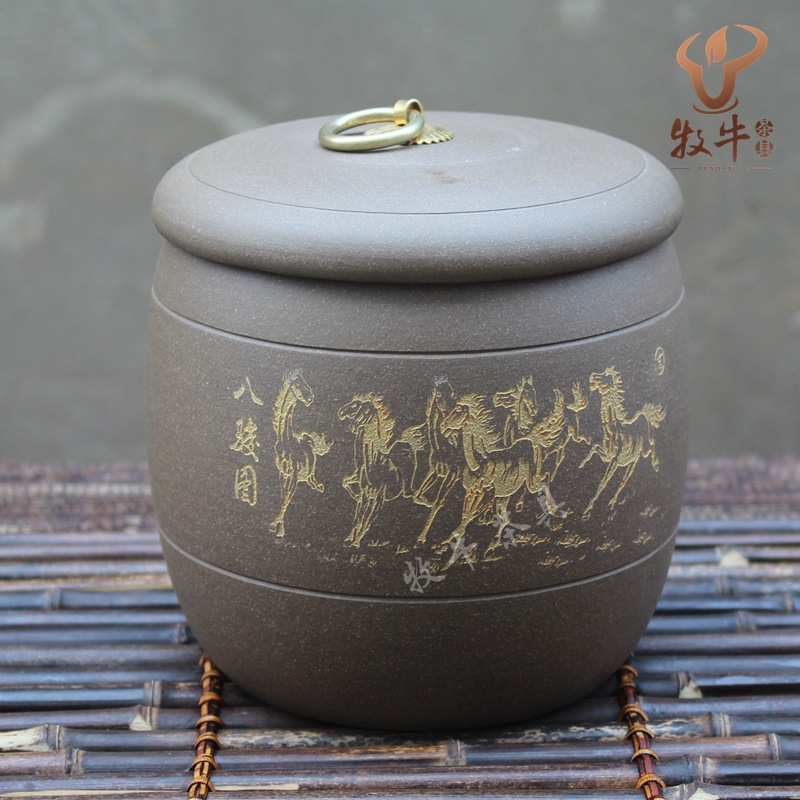 Yixing tea wholesale all kinds of storage tank mud schungite Bajun tank accessories store Zisha tea tea mixed batch yixing zisha tea caddy authentic fine workmanship high grade tea pot square box mixed batch