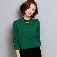 Blouses Shirts Women Elegant Lady OL Shirts Long Sleeved Female Chiffon Office Wear Blouses Tops