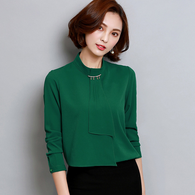 a3d64c699f3a Blouses Shirts Women Elegant Lady OL Shirts Long-sleeved Female Chiffon  Office wear Blouses Tops Blusas Tops Plus size YYX05