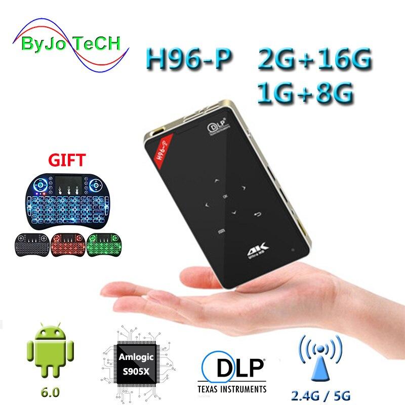 ByJoTeCH H96-P Projecteur 1g 8g Ou 2g 16g Mini Portable Projecteur de poche DLP Projecteur Android proyector home cinéma système H96p