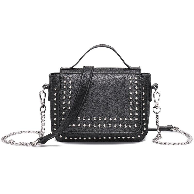 FASHION Rivet Chain Handbags PU Leather Crossbody & Shoulder Bags For Women Mini