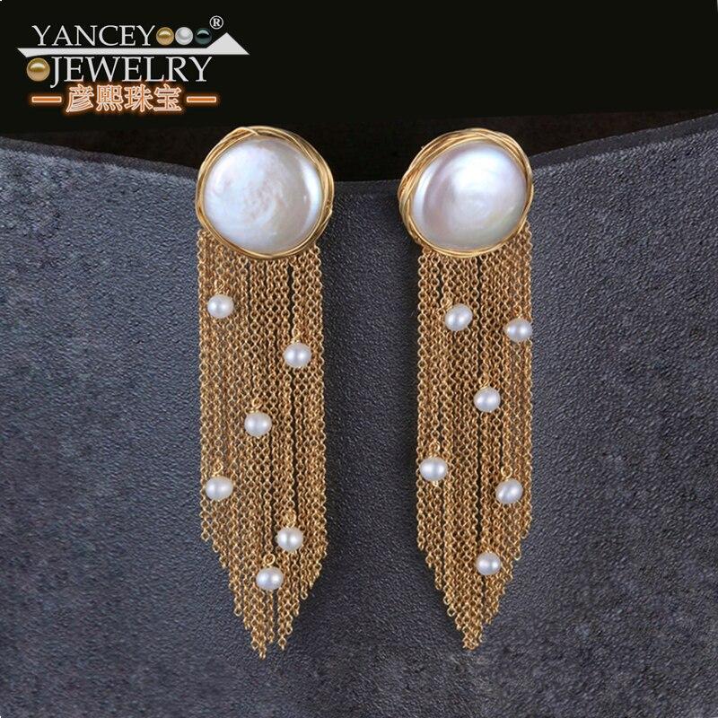 YANCEY Originale Conception Baroque Perle Long Gland Étoiles Luxueux Big Drop Boucles D'oreilles 9 K Incrustation D'or, le style de la déesse