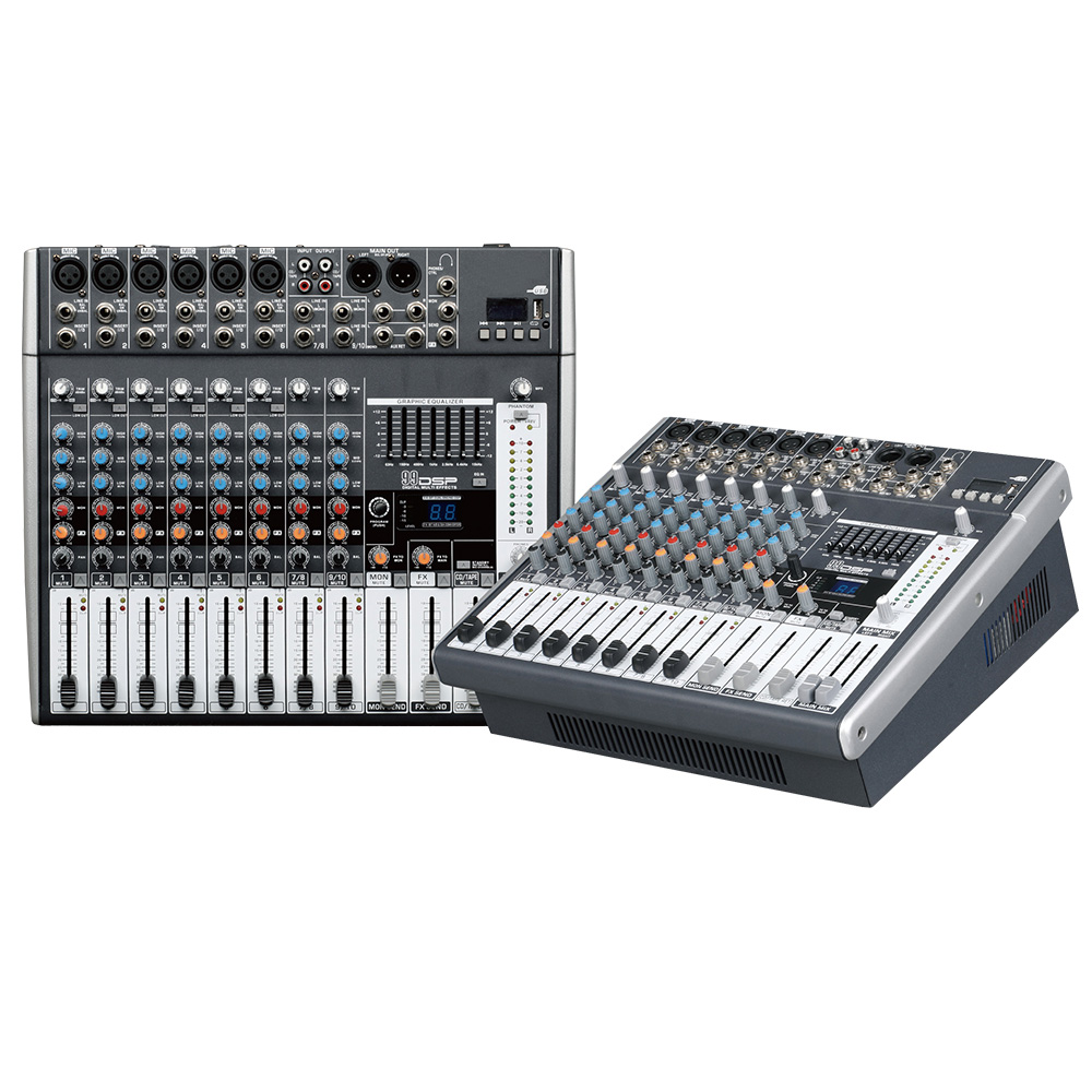 Mixing console recorder 48 V phantom power monitor AUX effect path 8 12 channel audio mixer