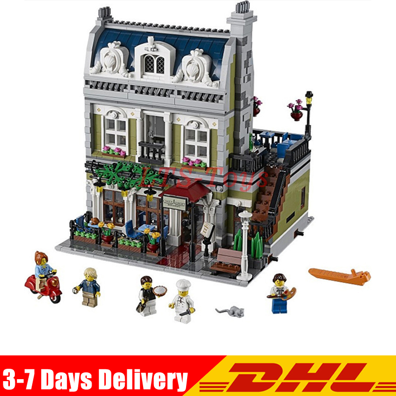 IN Stock DHL Lepin 15010 Expert City Street Parisian Restaurant Model Building Kits Blocks Children Toys Compatible Legoed 10243 кукла simba маша в сарафане в ассортименте