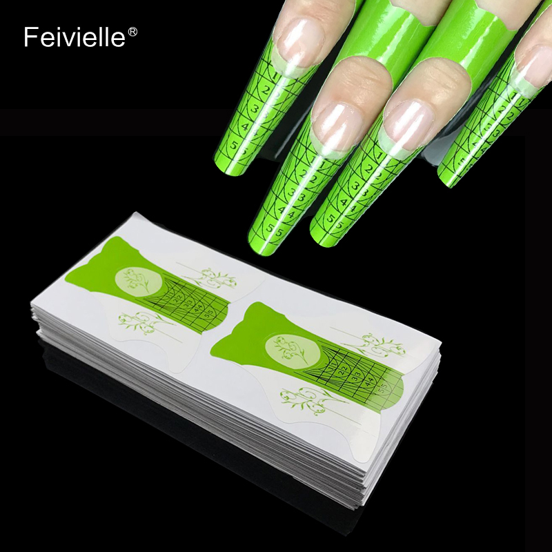 Feivielle New 100 Pcs Lot Nail Form For Acrylic UV Gel Tip Nails Extension Guide French