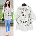 2017 spring Women Blouses Loose Print Fake Two-Piece office shirts Basic Women Tops Blusas Shirt Camisas Femininas Plus size 5XL