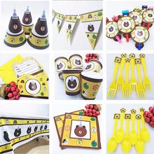 Selling Disney Brown Bear Kids Birthday Party Supplie Tablecloth Cup Plate Straw Napkin Cap Gift Bag Knife Fork Spoon Plates(China)