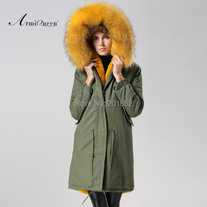 US $700.0 |Mode vrouwen Echte Bontkraag Dikke Warme Rits Jas Trenchcoat Parka Uitloper geel bont gevoerde leger jas in Namaakbont van Dames Kleding op