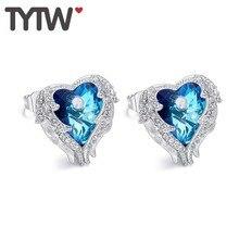 TYTW Original Crystals from Austrian Earring for Women Customize Blue Purple Angel Heart Stud earrings