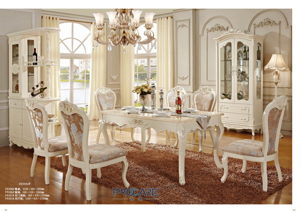 2016 rushed meuble hot sale hand carved solid wood dining table and chairs furniture sets with wine cabinet made in china 906