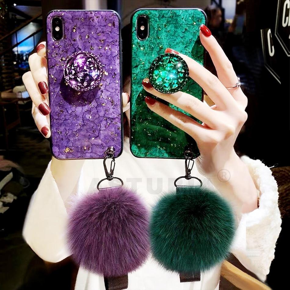 Luxo Brilho Caso Para iPhone Caso XR XS Caso Max 8 7 Silicone Caso Titular Para o iphone Para o Caso do iphone 7 6 s 8 Além da Tampa Do Caso