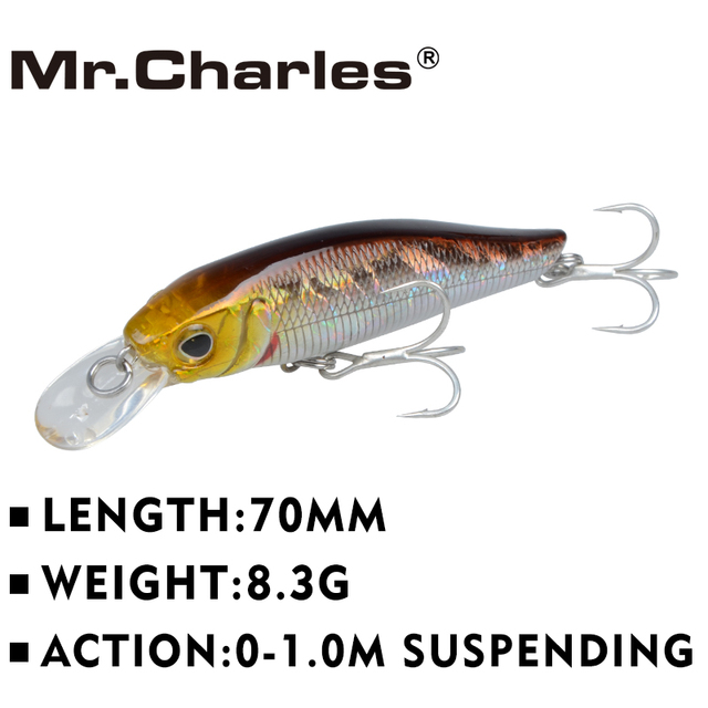 Mr.Charles CMC007  fishing lures  ,70mm/8.3g 0-1.0m floating super sinking minnow