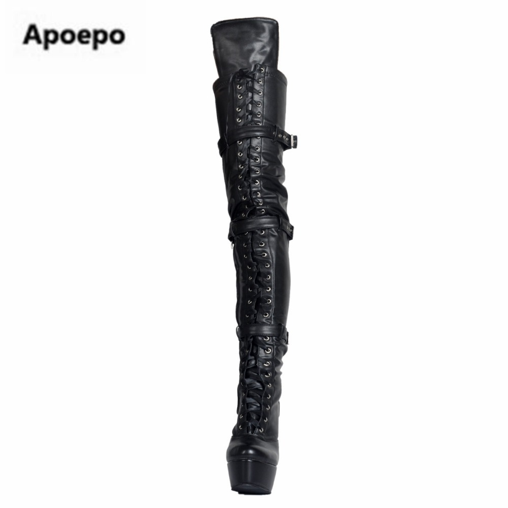 Apoepo brand sexy Platform Knee High Boot pu leather high heels boots women shoes Lace-up Long Boots Night Club Plus Size 45
