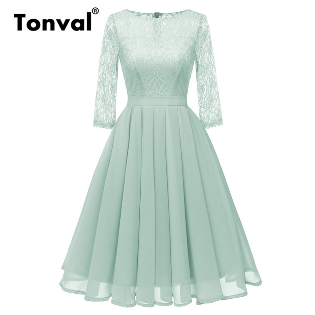 32e0189d1b470 US $20.89 43% OFF|Tonval Pleated Chiffon Green Women Lace Dress Evening  Party Formal Dresses Autumn Elegant 3/4 Sleeve Vintage Dress-in Dresses  from ...
