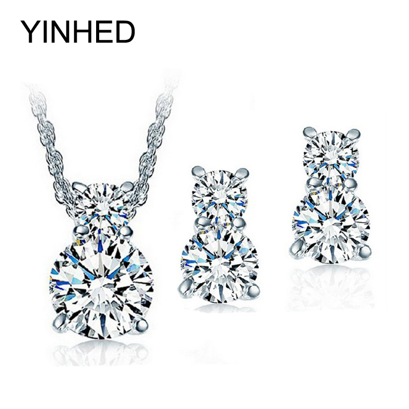 Really 925 Sterling Silver Wedding Jewelry Sets for Bridal Sparkling CZ Diamant Necklace and Stud Earrings