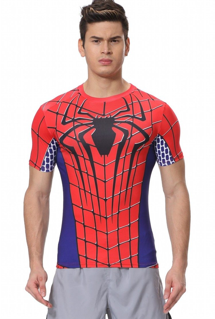 Red Plume Mens Compression T-Shirt Red , Spider-Man Movie Theme hero Sports Exercise Fitness T-shirt
